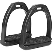 1 Pair Safety Stirrups Horse Riding Equestrian Black Treads