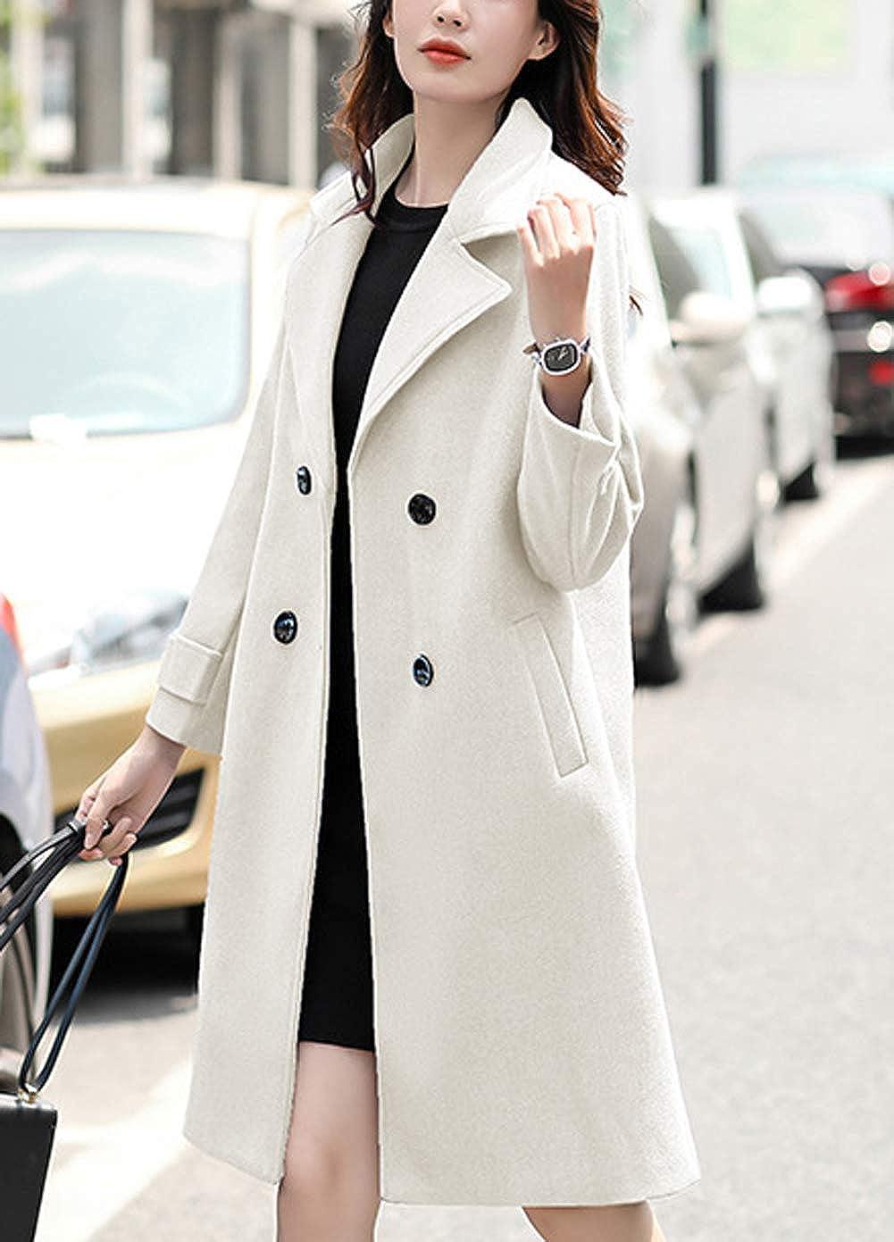 chouyatou Womens Essential Elegant Wear Double Breasted Mid Long Wool Pea Coat