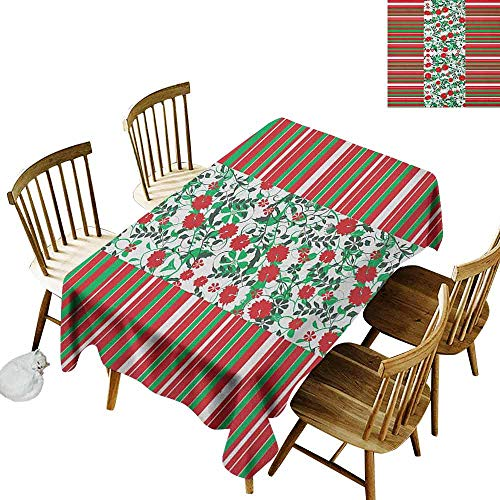 DONEECKL Christmas dust-Proof Tablecloth Daily use Poinsettia Flowers Fresh Green Branches Natural Swirls Border on Striped Backdrop Multicolor W52 xL70