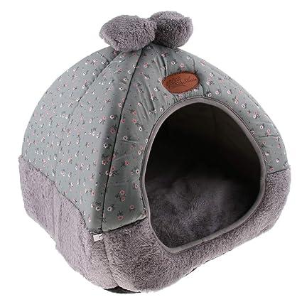perfk Almohadilla Cama Gato Cueva Plegable Tienda Accesorios Colocar Jaula Casa de Mascota Conveniente Cómodo -