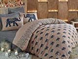 LaModaHome 3 Pcs Luxury Soft Colored Full and Double Bed Size Bedroom Bedding 65% Cotton Quilt Duvet Cover Set Light Brown Background Elephant Animal Africa Design