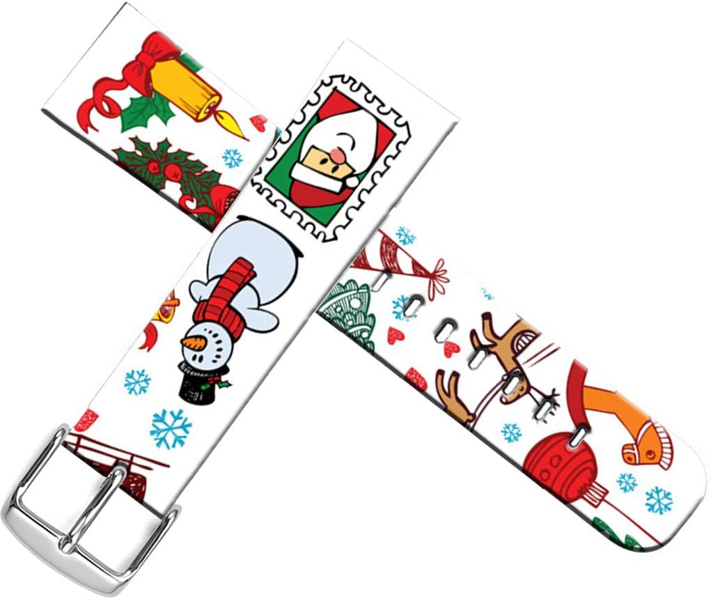 Strap Compatible for Apple Watch Series SE/6/5/4/3/2/1 42mm/44mm Sport - ENDIY Designer Leather Fashionable Band Replacement for Iwatch - Funny Christmas Snowman and Cute Little Horse