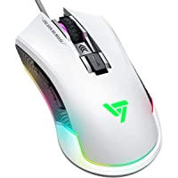 Gaming Mouse, VicTsing Pro RGB Gaming Mice Wired with 16.8 Million Chroma RGB Backlit, 7250 DPI, 6 Programmable Buttons for Gamer Computer PC - White
