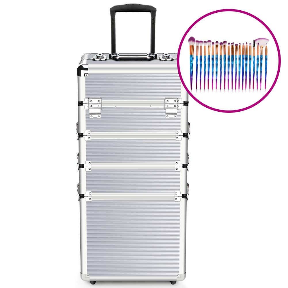 Makeup Case - 4 in 1 Professional Aluminum Cosmetics Storage Organizer Rolling Wheels with Locks and Folding Trays Silver
