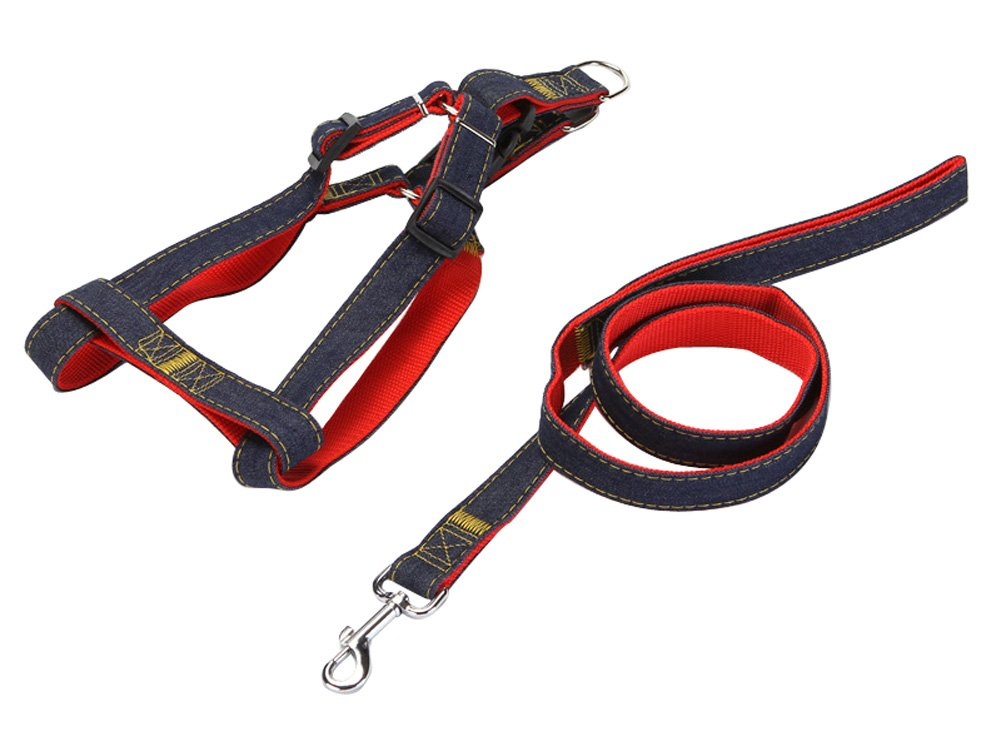 Red S Red S Adjustable Dog Leash Durable Leash Rope Set Easy Walk Chest Harness (S, Red)
