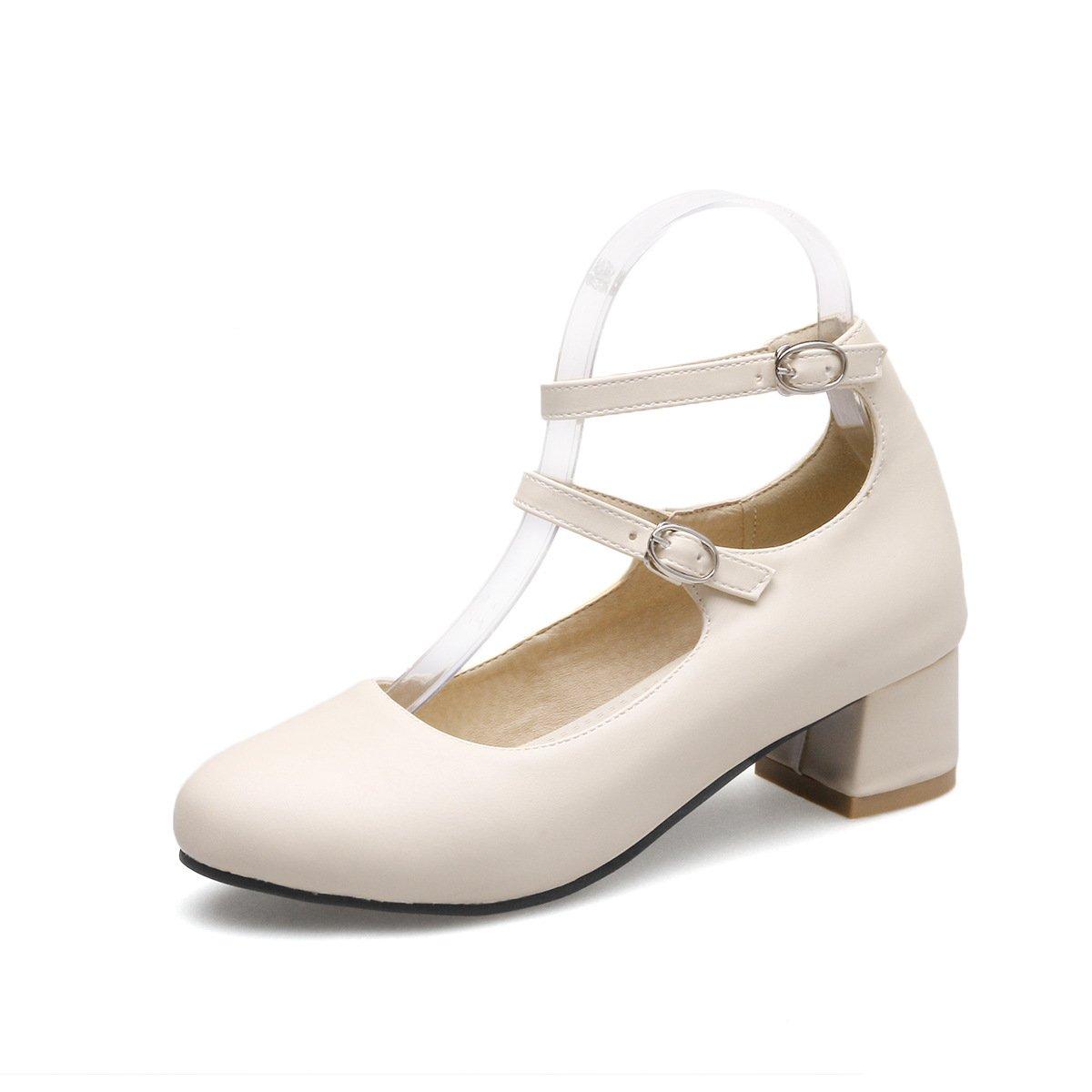 Mei&S Puntera Redonda Mujer Tacones Bloque Boca Superficial Zapatos 39 EU