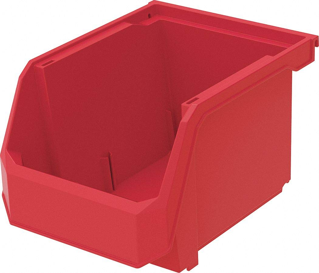 Hang and Stack Bin, Red, 11'' Outside Length, 8-1/4'' Outside Width, 7'' Outside Height pack of 5
