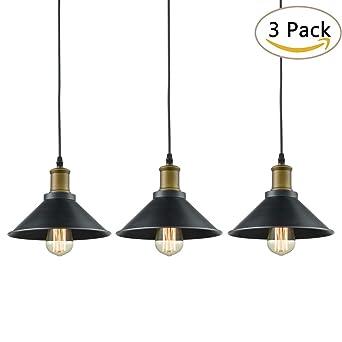 industrial lighting fixture. Dazhuan Ceiling Light 3-Lights Pendant Metal Hanging Kitchen Farmhouse Industrial Lighting Fixture 3 Pack