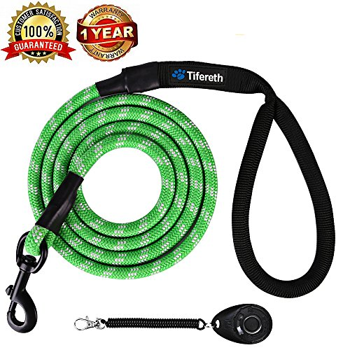 Tifereth Dog Leashes for Medium and Large Dogs Mountain Climbing Rope Dog Leash 4 ft Long Supports the Strongest Pulling Large and Medium Sized Dogs(Free Dog Training Clicker) (4 Feet, Green) by Tifereth