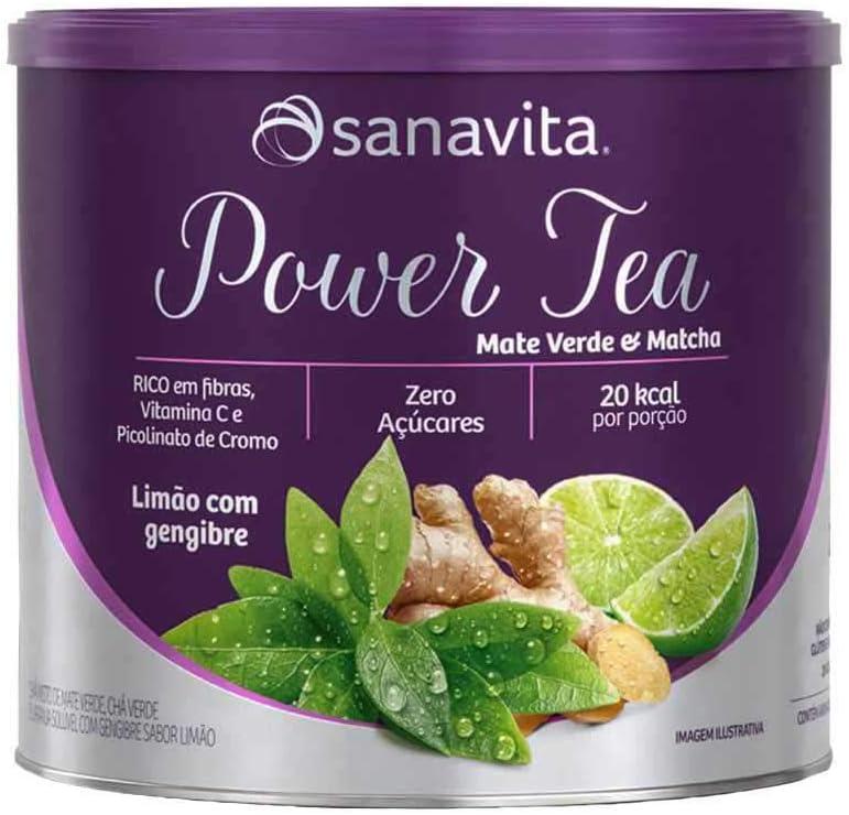 Power Tea Mate Verde & Matchá limão com gengibre 200g Sanavita