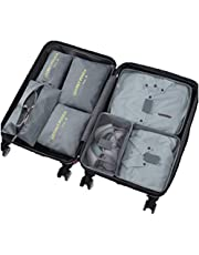 Ximito 7 Set Packing Cubes Travel Luggage Waterproof Organizers - 3 Travel Cubes + 3 Pouches + 1 Shoe Bag (Gray)