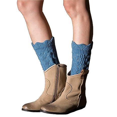 Tukistore Encajes Hueco Cortas Calentador de piernas Mujer Invierno Calcetines de la Rodilla de Ganchillo Calentadores