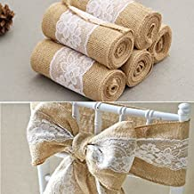 Mullsan Burlap Lace Hessian Table Runner Chair Ribbons Jute Outdoor Wedding Party Décor 6''X95''