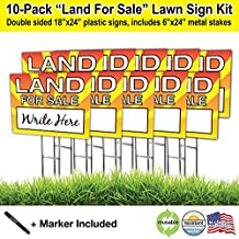 Land For Sale 18x24 Lawn Sign with 6x24 H-stake, Comes with A Black Permanent Marker, Printed In Bright Colors for Better Visibility (10)