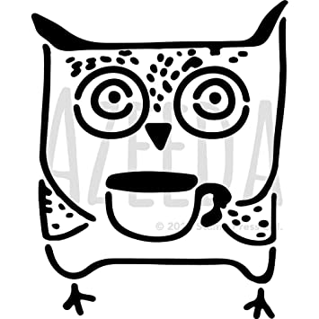 Large A2 \'Owl With Coffee\' Wall Stencil / Template (WS00027089 ...