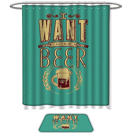 QINYAN Home Print Bathroom Rugs Shower Curtain Manly Decor Glass Of Beer And Wheat Stem