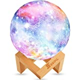 SEGOAL Moon Lamp Moon Light Kids Night Light Galaxy Lamp 16 Colors LED 5.9 Inch 3D Star Lamp with Wood Stand, Touch…