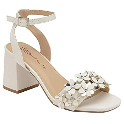 af3b62cbe62 Dolcis Ladies Naimh White Block Heel Ankle Peep-Toe Sandals Strappy Shoes  Sizes3-8  Amazon.co.uk  Shoes   Bags