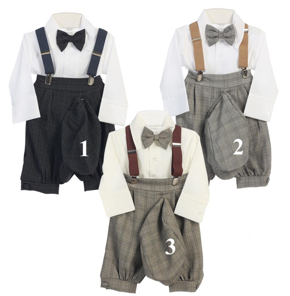 Vintage Baby Toddler Boys Knickers Suit Set Silver Checkers 3T