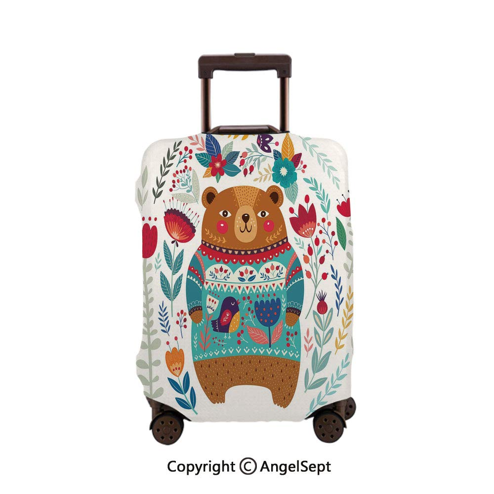 Home Protective Washable Suitcase Cover,Adorable Coon Figure with Flowers and Leaves Spring Inspired Botanical Composition Multicolor,30x40inches,Travel Elastic Polyster Suitcase Protector
