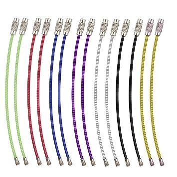 Golvery Multicolor alambre de acero inoxidable llavero, llavero, 4 inch clave Cable anillos para colgar etiqueta para equipaje, Llavero, llavero y ...