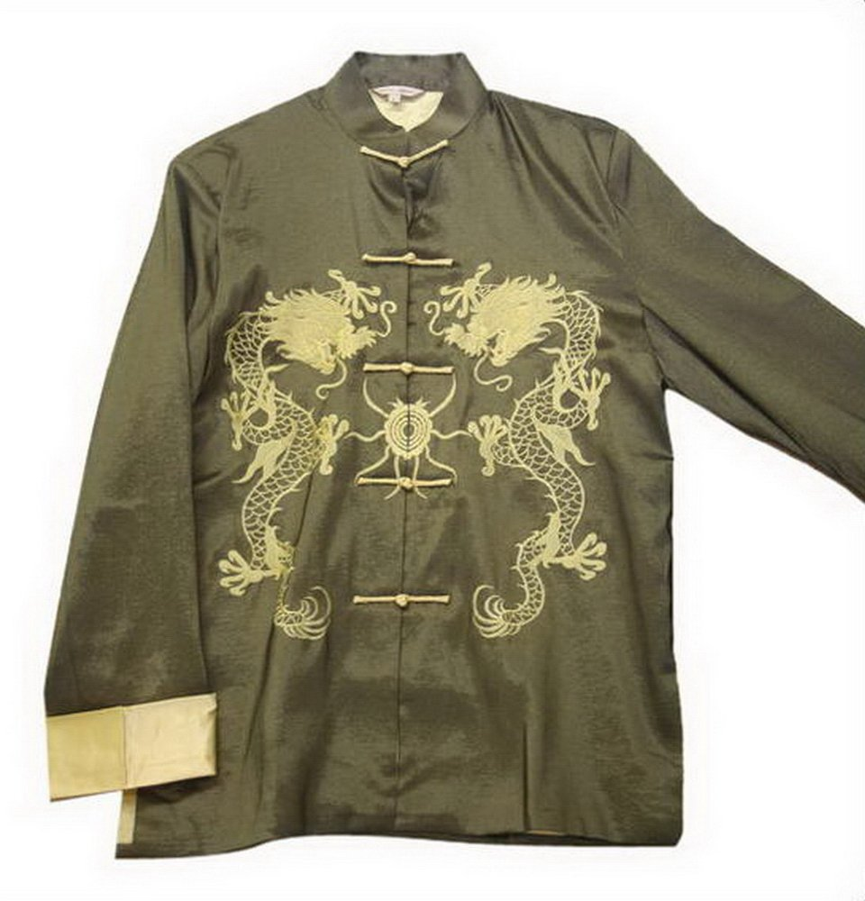 THY COLLECTIBLES Traditional Chinese Embroidered Silk Kung-Fu Tang Jacket Coat Tai Chi Uniform Double Dragon (Green, Asian XL = US L)