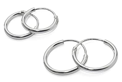 Silverline Jewelry 925Sterling Silver Earrings For Tragus, Nose, Diameter 10mm/12mm/14mm, 3Pairs