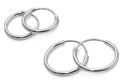 925 Sterling Silver 2 Pair Set of 8 10 mm Sleeper Round Endless Hoop Earrings 9UW9mV