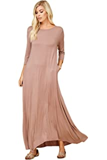 f6142732d87 Annabelle Women s 3 4 Sleeve Casual Loose Fit Maxi Dresses with Side Pockets