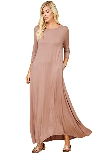 8f5ce0c335 Annabelle Women s 3 4 Sleeve Casual Loose Fit Maxi Dresses with Side Pockets  Small Taupe