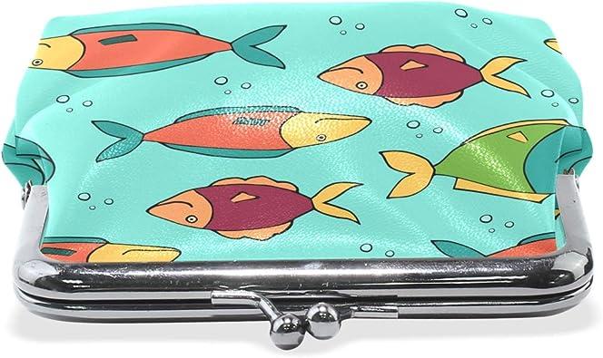 Alaskan Salmon Teal Coin Purse Buckle Vintage PU Pouch Kiss-lock Wallet for Women Girl