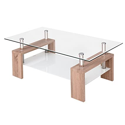 Tangkula Glass Coffee Table Modern Simple Style Rectangular Wood Legs End  Side Table Living Room Home Furniture with Shelf