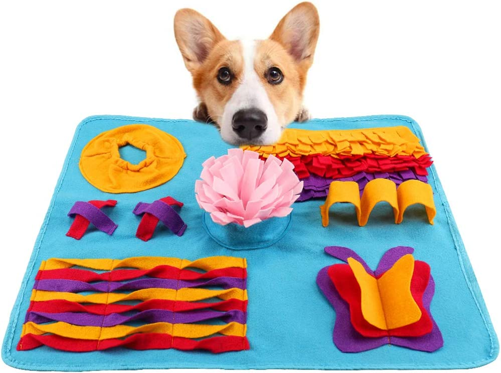 HALOViE Dog Puzzle Mat, Pet Mental Stimulation Toys Snuffle Treat Mat Slow Feeder Sniffing Pad Nosework Activity Blanket 28 x 20 Inch