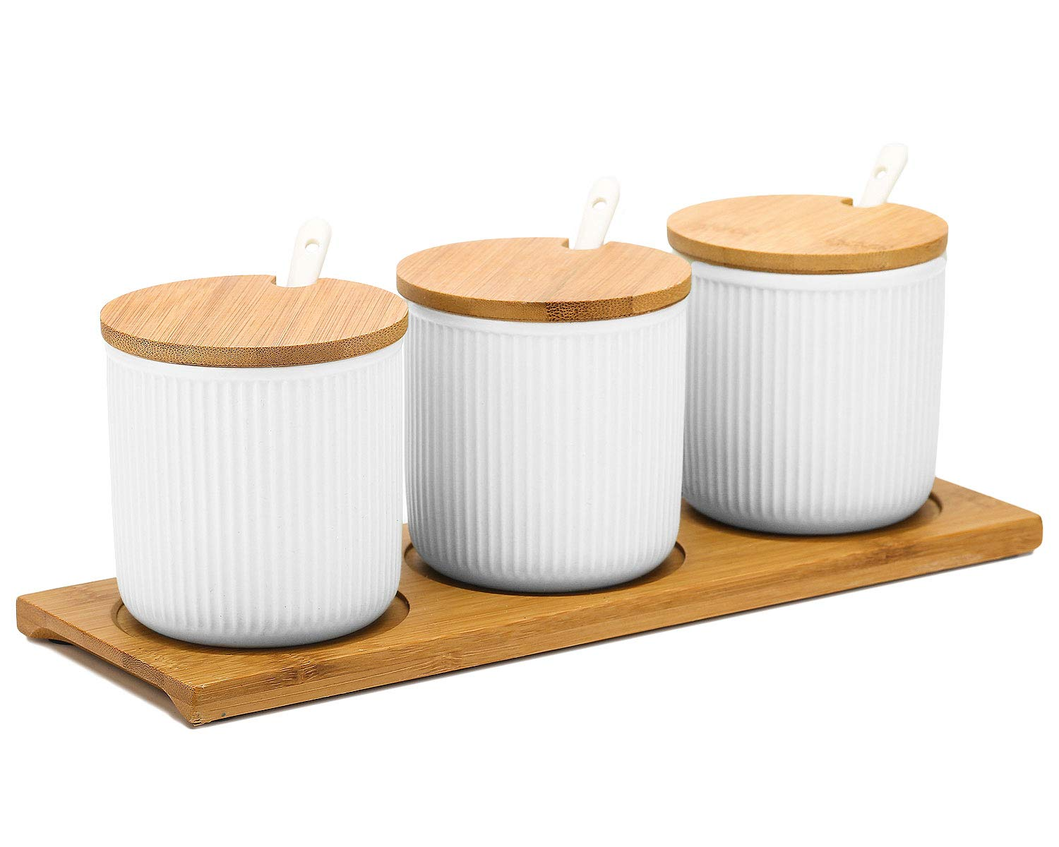 VanEnjoy Ceramic Sugar Spice Containers Porcelain Jar with Bamboo Lids Tray and Spoons Muti-Functional Round Condiment Jar for Home Set of 3