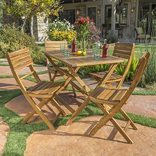 Vicaro 5 piece wood outdoor folding dining set perfect for Outdoor furniture varnish