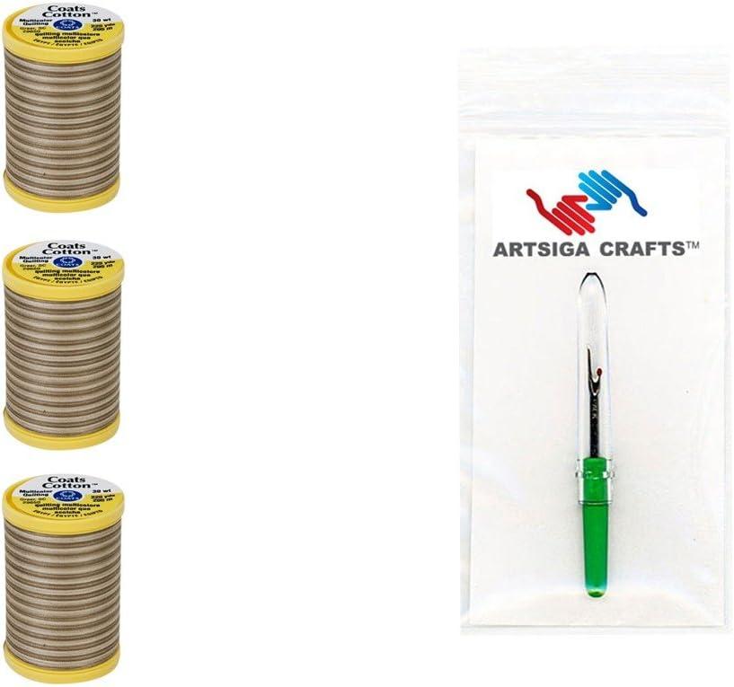 Plum Shadows Bundle with 1 Artsiga Crafts Seam Ripper S972-0810-3P 3-Pack Coats /& Clark Sewing Thread Machine Quilting Multicolor Cotton Thread 225 Yards