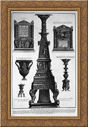 Three candlesticks, a vase and two stones 19x24 Gold Ornate Wood Framed Canvas Art by Piranesi, Giovanni Battista