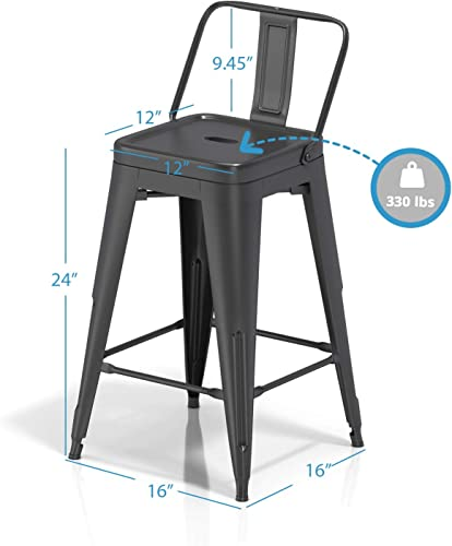 VIPEK 24 Inches Metal Counter Bar Stools Dining Chairs Bar Counter Stools Set of 2 Mid Back Side Chairs 24″ Height Barstool Patio Bar Chairs Home Kitchen Dining Stool Bistro Cafe