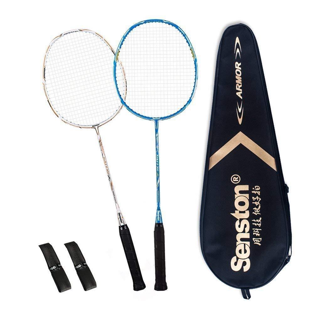 Senston 2 Full Graphite Badminton Racket Set Full Carbon Badminton Racquet(White+Blue) with Racket Cover and 2 overgrip