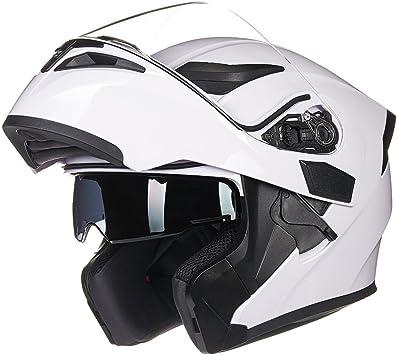 ILM Motorcycle Dual Visor Flip up Modular Full Face Helmet DOT with 7 Colors M, White