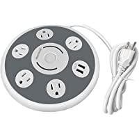 OviiTech 5-Multi Outlet Power Strip Surge Protector with 2 Quick USB Charging Ports (White)