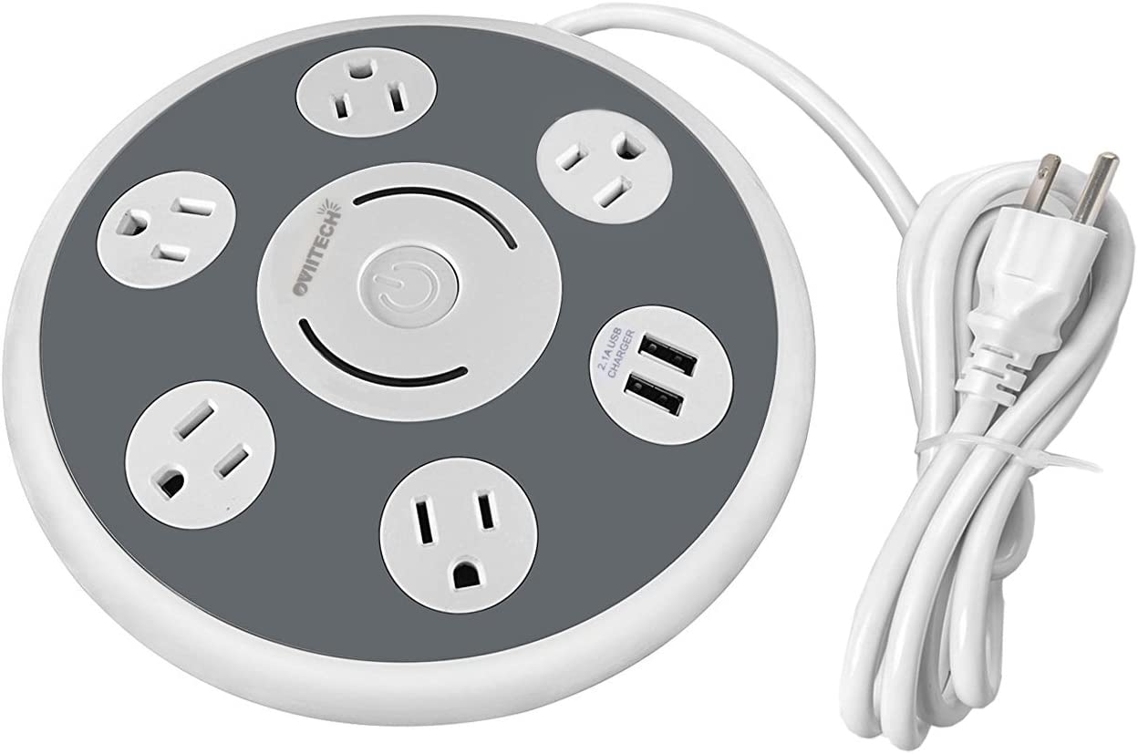 OviiTech 5 Electrical Outlet Surge Protector Power Strip with 2 USB