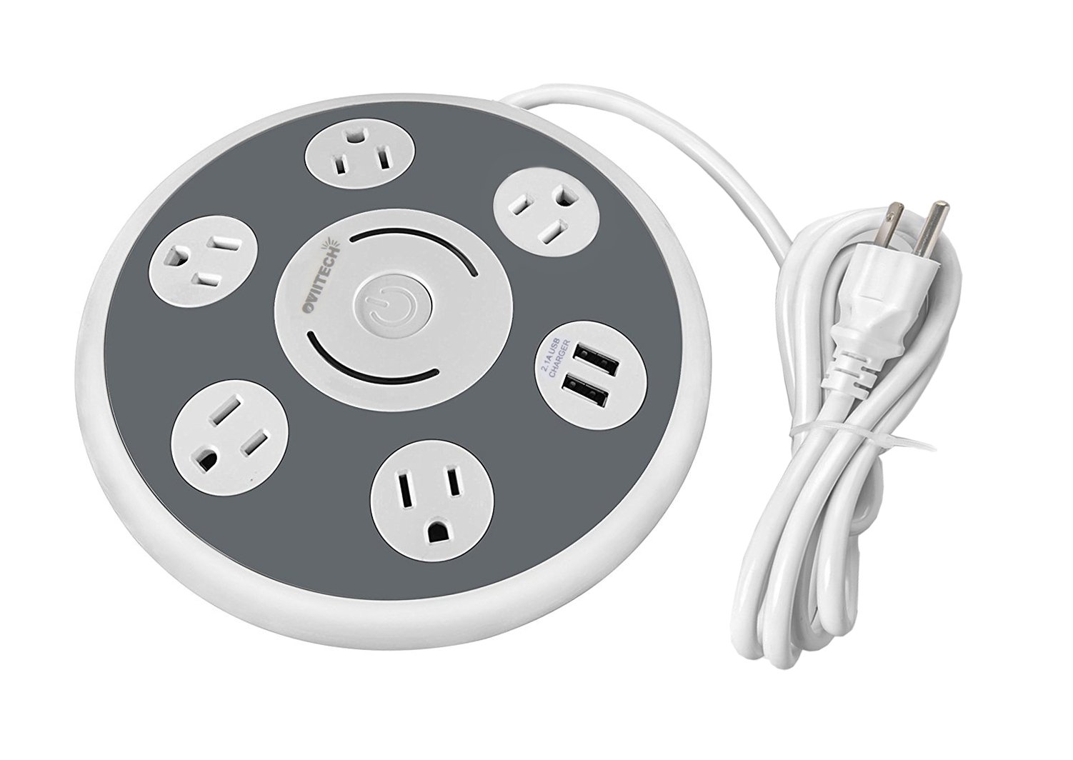 5 Multi Outlet Power Strip Surge Protector with 2 Quick USB Charging Ports, OviiTech Round Desktop Charging Station,UFO Shape, ETL Certified, White