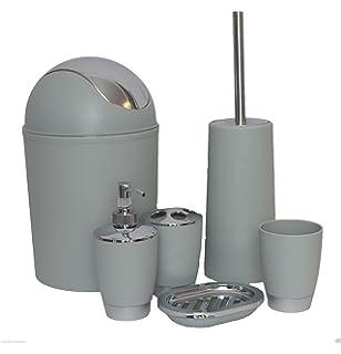 hq high quality light grey 6 piece professional bathroom accessory set