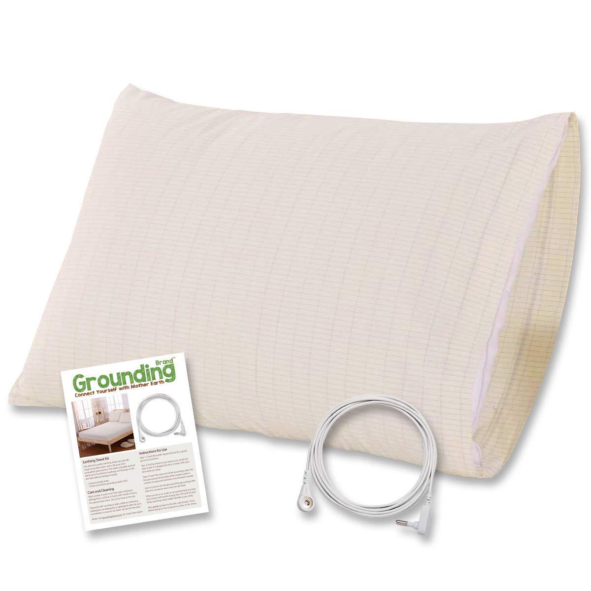 Earthing Pillow Case with Grounding Connection Cord - Silver Antimicrobial Conductive Mat for Better Sleep, Natural Wellness and Healthy Earth Energy, Natural Beige, Standard Queen Size