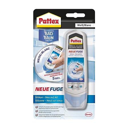 Pattex Perfektes Bad Neue Fuge, Silikon Dichtmasse für neue Fugen in nur einem Schritt, Fugenweiß zum Schutz vor Schimmel, Fu