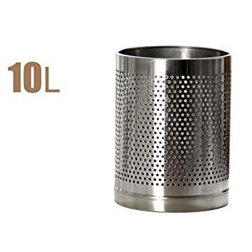 LJ Edelstahl Mülleimer 10L Zylindrischer Mülleimer Hohle Mode Ideen  Wohnzimmer Schlafzimmer Küche Badezimmer Speicher Fässer