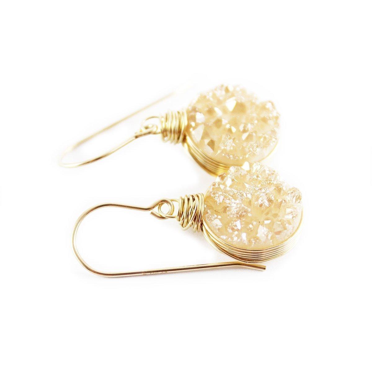 Champagne Druzy Gold Filled Earrings