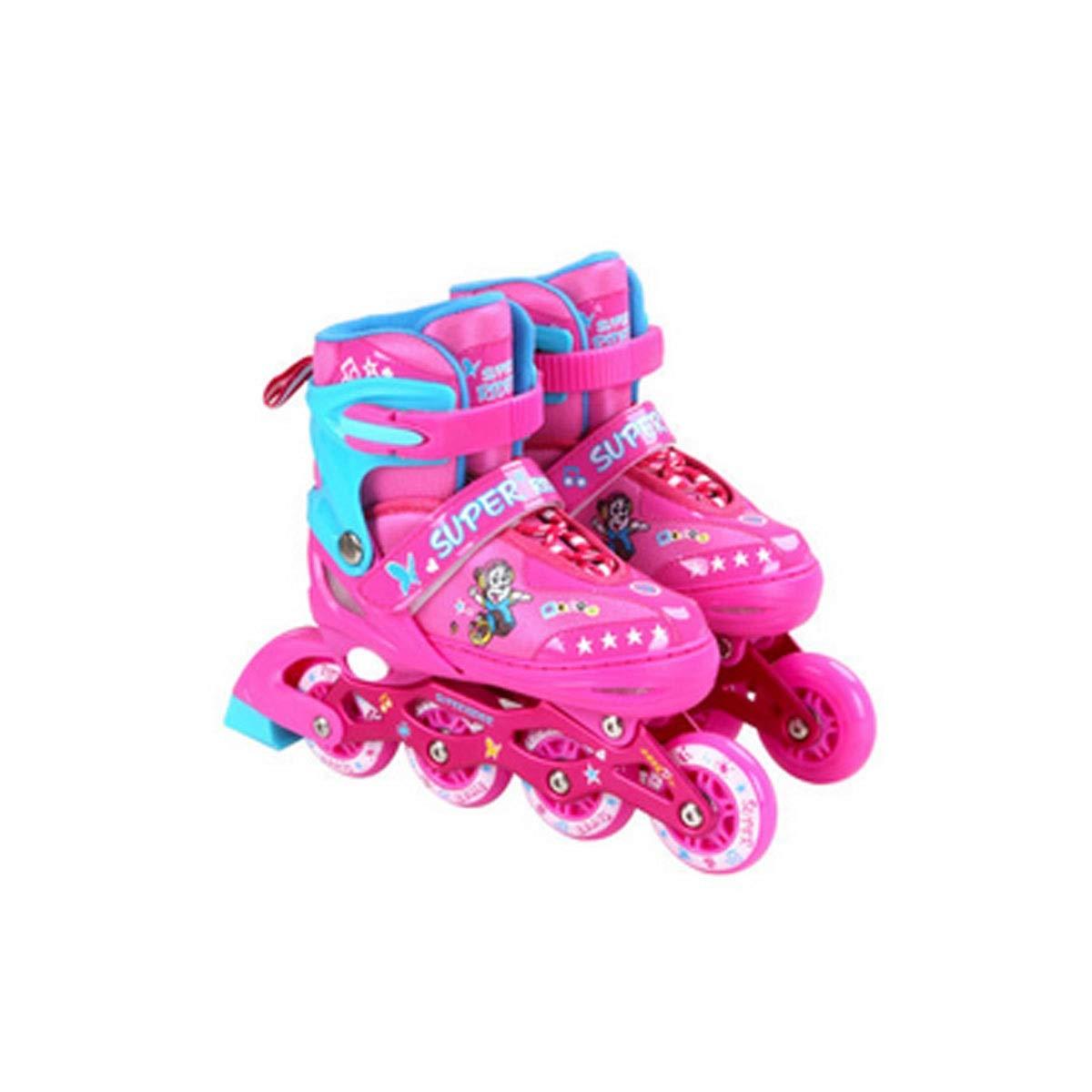rose B-M Patins à roues alignées, patins pour enfants, taille ajustable aux quatre roues, équipeHommest de prougeection complet, patins à roues alignées apporte une expérience d'enfance différente pour votre b&e