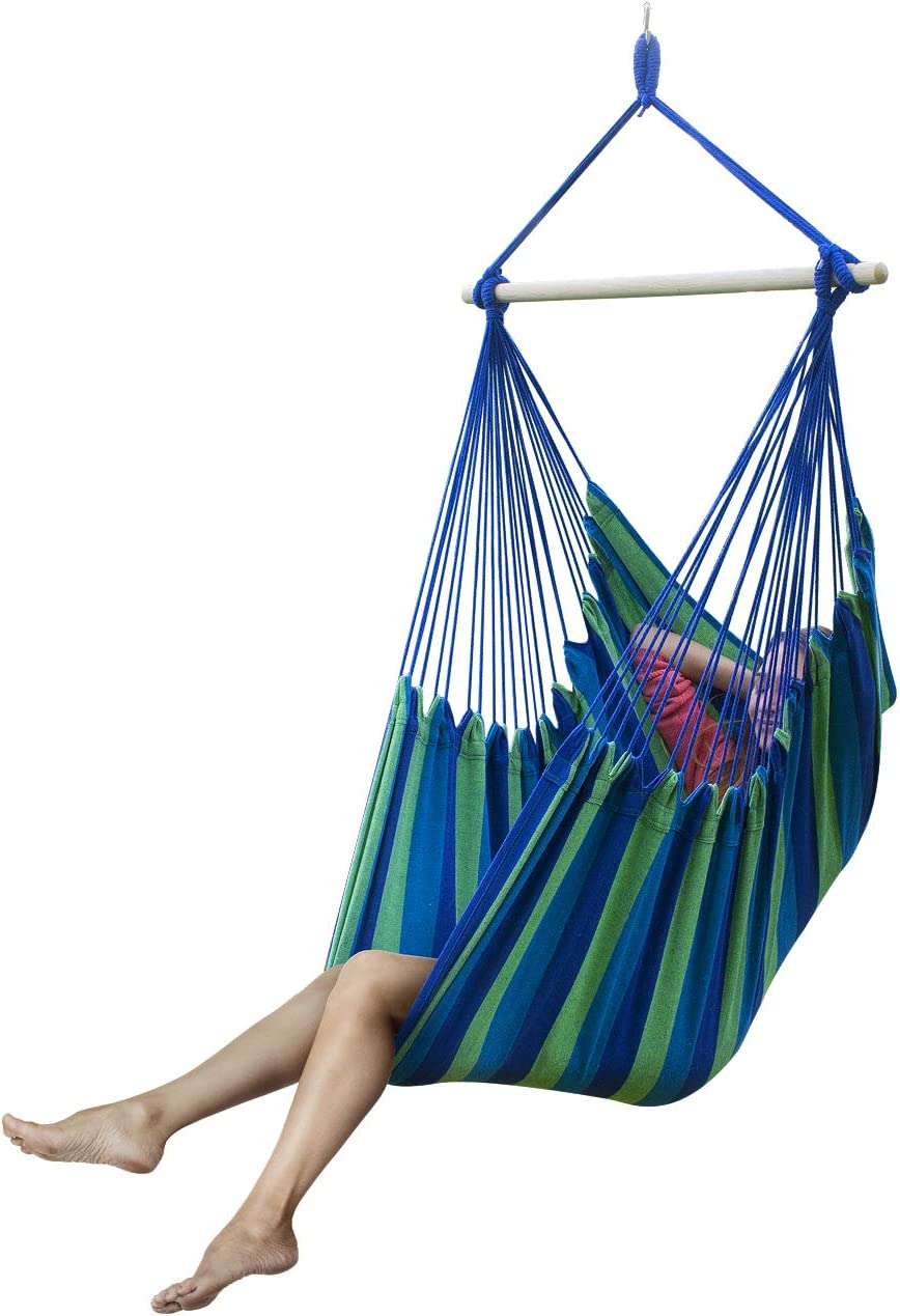 Sorbus Large Brazilian Hammock Chair -Extra Long Bed Swing Seat-Quality Cotton for Superior Comfort Durability-Hanging Chair for Yard, Bedroom, Porch or Any Indoor and Outdoor Spaces Blue Green